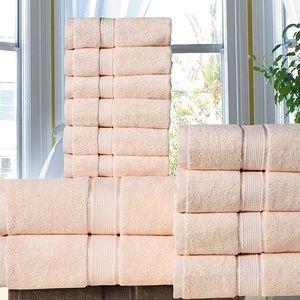 100 % Cotton 700 GSM 12 Piece Bath Towel Set Beige